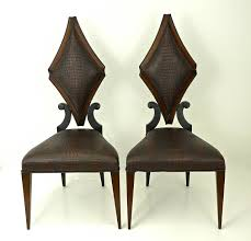 Christopher Guy Furniture Pair Of Art Deco Style Side Chairs In Faux Alligator By
