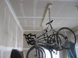 bike rack garage with hanging bikes