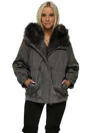 grey hooded puffer jacket with detachable faux fur