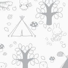 Nijntje Behang Buitenleven Grijs Kinderboekenkado
