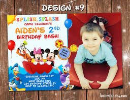 Mickey Mouse Clubhouse 2nd Birthday Invitations Mickey Mouse Clubhouse Swim Birthday Party Photo Invitations Custom