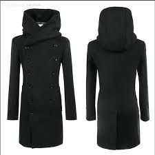 mens hooded pea coat fall fashion pea coat with hood double ted long wool trench
