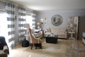 Striped Living Room Curtains Interior Gray Curtains Living Room Features Gray And White