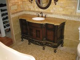 rustic bathroom vanities with tops brown granite single white washbasin and unique black metal taps wooden drawers panels as storage and brown marble