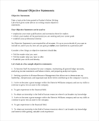 Sample Resume Objectives Statements General Resume Objective Sample 9 Examples In Pdf