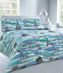 paris duvet cover set blue double zoom