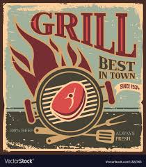Bbq Poster Retro Bbq Poster Template With Fresh Beef Steak Vector Image