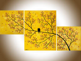 modern wall painting colorful art abstract painting yellow leave tree love birds original artwork gray wall art canvas art shabby chic artbird paintings on wall art canvas shabby chic with golden love by qiqigallery 40 x20 original abstract love birds