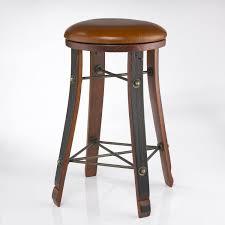 vintage oak wine barrel round bar stool with leather seat preparing zoom