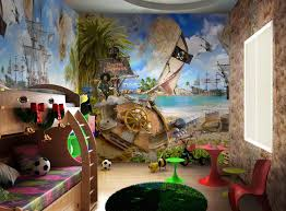 Amazing Design Real House Luxury And Decorations With The Child's Bedroom  Design With A Pirate Theme Be Equipped Wooden Bunk Bed And Unique Red Round  Table ...
