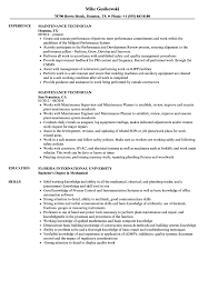 Maintenance Technician Resume Sample Maintenance Technician Resume Samples Velvet Jobs