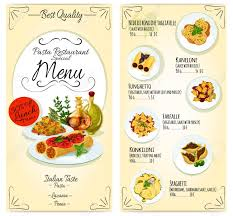 Menu Card Template Italian Cuisine Restaurant Lunch Menu Card Template Vector Icons