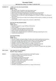 Example Bartender Resume Custom Bartending Resumes Examples Head Bartender Resume Samples Velvet