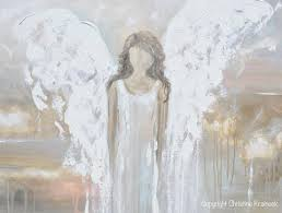 giclee print abstract angel painting fine art guardian angel neutral home canvas wall art  on large horizontal canvas wall art with art abstract angel painting guardian angel heaven canvas print wall