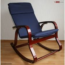 rocking chair relax chair wooden chair in dark brown and blue