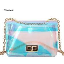 <b>MIWIND</b> 2018New <b>Leather</b> Pink Women Laser Handbags Silver ...