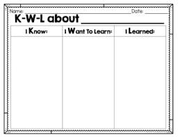 Free Kwl Chart Blank Kwl Chart Freebie
