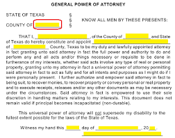 free texas general financial power of