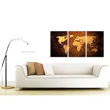 bright and modern set of 3 wall art home designing inspiration vintage world map canvas for