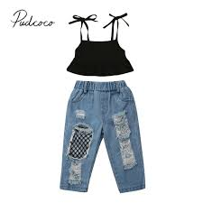 New Jeans Design For Girl 2019 Us 5 1 20 Off 2019 Brand New Toddler Kid Baby Girl Vest Crops Tops Ripped Fish Net Ripped Jeans Pants 2pcs Sets Summer Fashion Outfits Clothes In