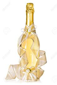 Champagne Bottle Decoration Corked Bottle Of Champagne With Wedding Decoration Ribbon And