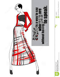 эскиз девушки моды девушка в платье и модной цитате иллюстрация