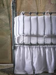 matteo vintage linen ruffled crib skirt