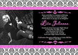 Girls Damask Hot Pink Black Graduation Invitation