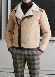 Gerry Size Chart Gentwith Gerry Beige Fur Collar Slim Fit Leather Coat
