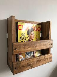 wood magazine rack wall mount. rustic magazine rack, wall mounted holder, wood storage, rack mount k