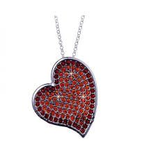out of stock n237 red diamond heart necklace