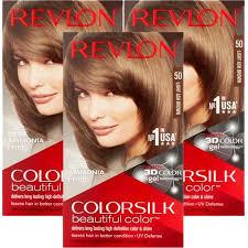 Revlon Light Ash Brown Hair Color Chart 3 Pack Revlon Colorsilk Beautiful Color 50 Light Ash Brown Permanent Hair Color 1 Application