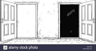 1300x687 cartoon vector doodle drawing of two open wooden decision door
