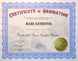 blank ordination certificates church of the flying spaghetti monster certificates of ordination