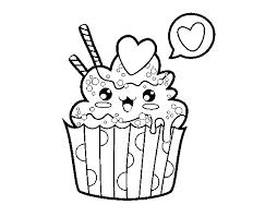 Disegno Di Cupcake Kawaii Da Colorare Acolorecom