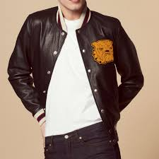 leather varsity jacket with patch coats jackets color black