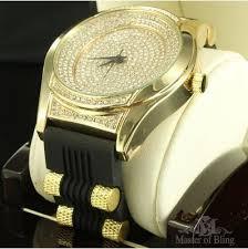 14k crisp gold finish silicone band techno pave hot new lab 14k crisp gold finish silicone band techno pave hot new lab diamond mens watch 49 99
