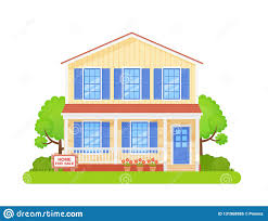 Illustration Board House Design House With Sign For Sale Vector Illustration In Flat Design