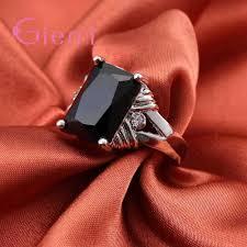 Square Shape Ring Design High Quality Black Square Shape Design Cubic Zirconia Finger Rings Fine 925 Sterling Silver For Women Man Festival Gift