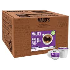 This coffee is a half and half blend of our organic fair trade sumatra and our organic fair trade, swiss water process sumatra decaf. Maud S World S Best Half Caff Medium Roast Coffee Pods