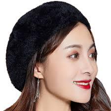 <b>BINGYUANHAOXUAN</b> Winter Autumn <b>women's</b> Rabbit fur <b>beret hat</b> ...