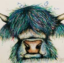 blue highland cow canvas print
