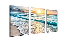 qicai 3 panel canvas wall art for home decor blue sea sunset white beach painting the on 3 panel wall art beach with amazon qicai 3 panel canvas wall art for home decor blue sea