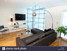 Living Room Set With Free Tv View Of Floor Lamp Over Black Sofa Set With Flat Screen Tv At