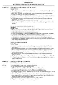 Manufacturing Technician Resume Samples Velvet Jobs