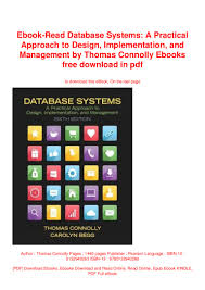 Database Systems Design Implementation And Management 6th Edition Pdf Ebook Read Database Systems A Practical Approach To Design