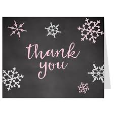 Snowflake Thank You Cards Baby Shower Chalkboard Pink Girl Set