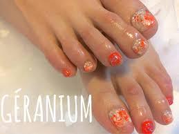 ビビットなビタミンカラーのオレンジでマーブルフット 5000géranium