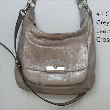 "Coach ""Kristin"" Grey Patent Leather Hobo Crossbody"