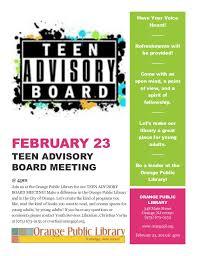 Library teen advisory board flier